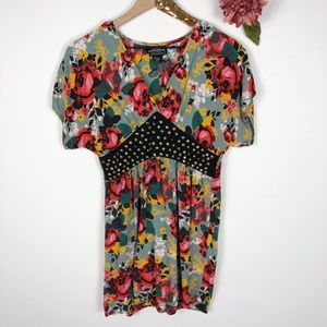 [ANGIE] Anthro Floral Studded Peasant Top